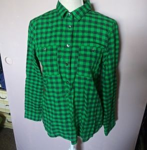 Madewell Green checkered popover